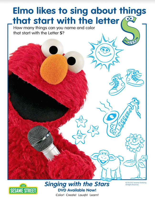 Elmo Letter S Printable Activity Sheet