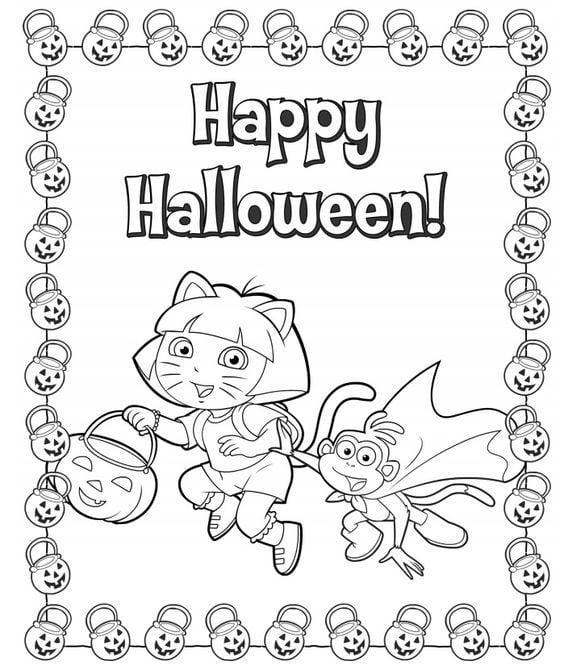 FREE Dora Printable Halloween Coloring Page - Jinxy Kids