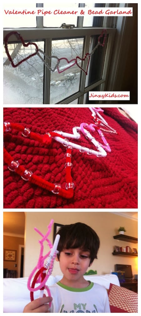 Valentine Pipe Cleaner Bead Garland