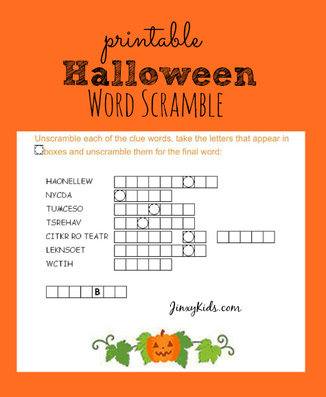 image about Free Printable Word Scramble referred to as Totally free Printable Halloween Term Scramble - Jinxy Young children