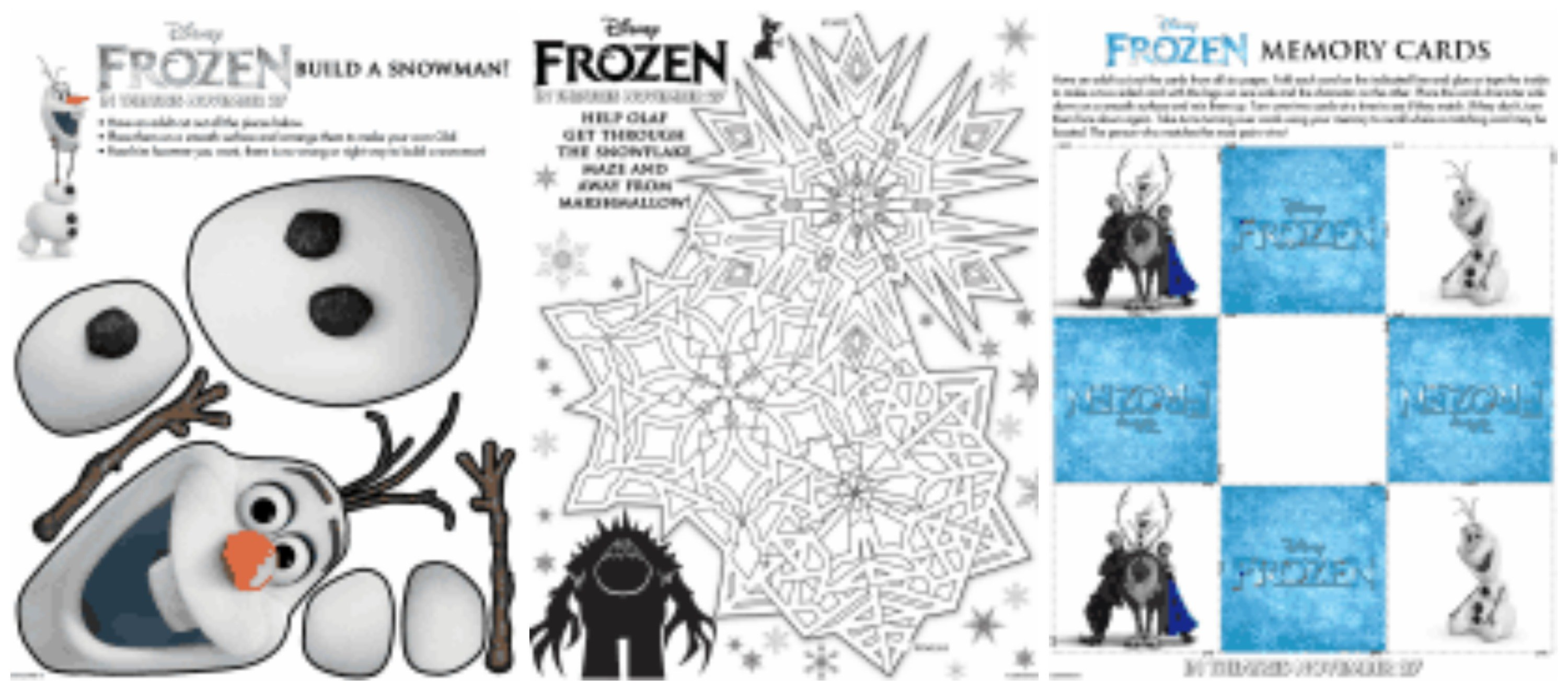 free disney's frozen printable activity sheets - jinxy kids