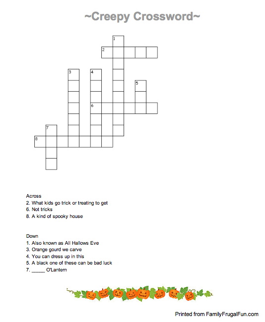 Halloween Crossword Puzzle For Kids Free Printable Jinxy Kids