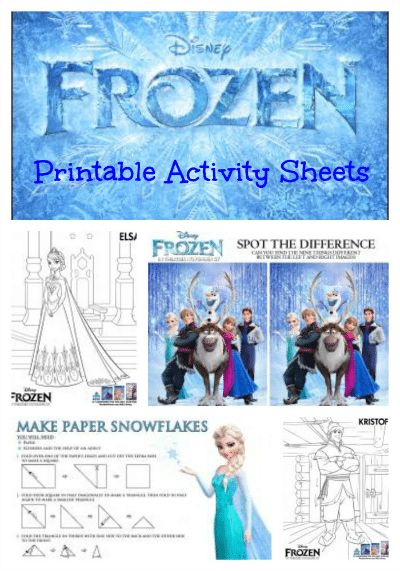 Disney Frozen Printable Activity Sheets
