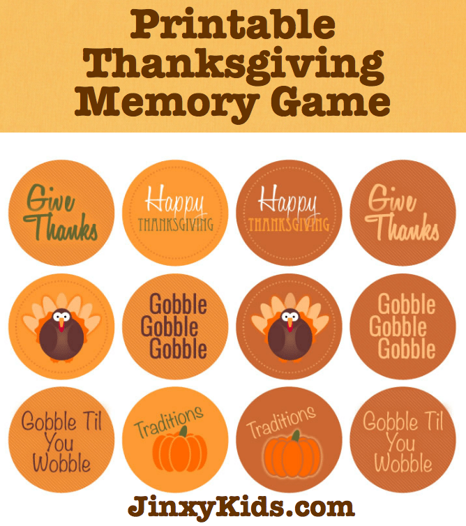 Printable Thanksgiving Memory Game JK