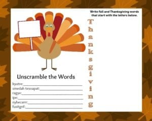 FREE Printable Thanksgiving Placemat with Activities