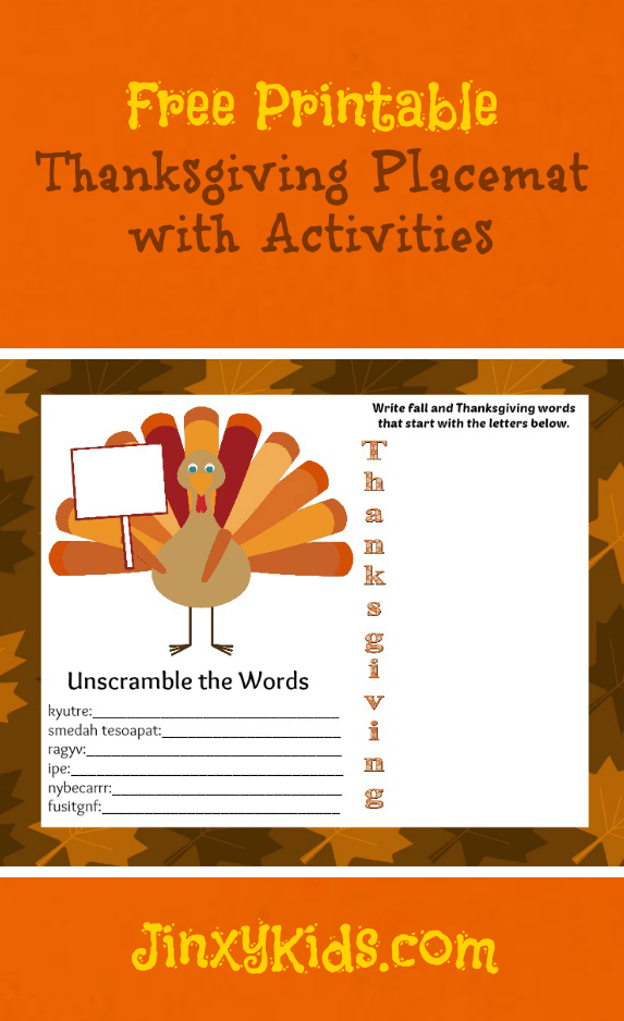 Thanksgiving Placemat Printable JK
