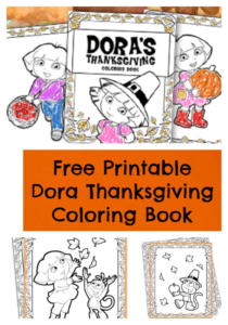 FREE Printable Dora Thanksgiving Coloring Pages