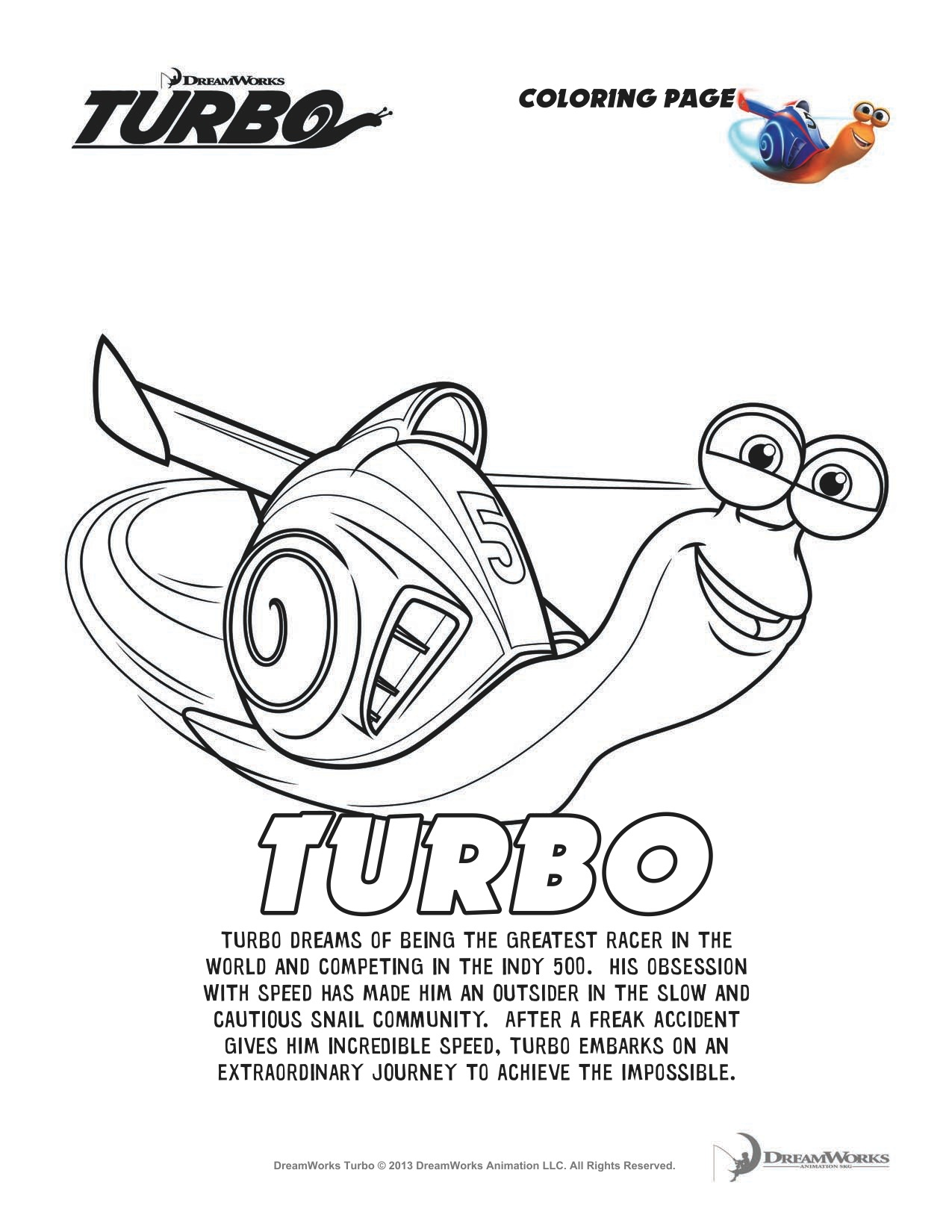 TURBO Printable Activity Sheets and Coloring Pages - Jinxy Kids