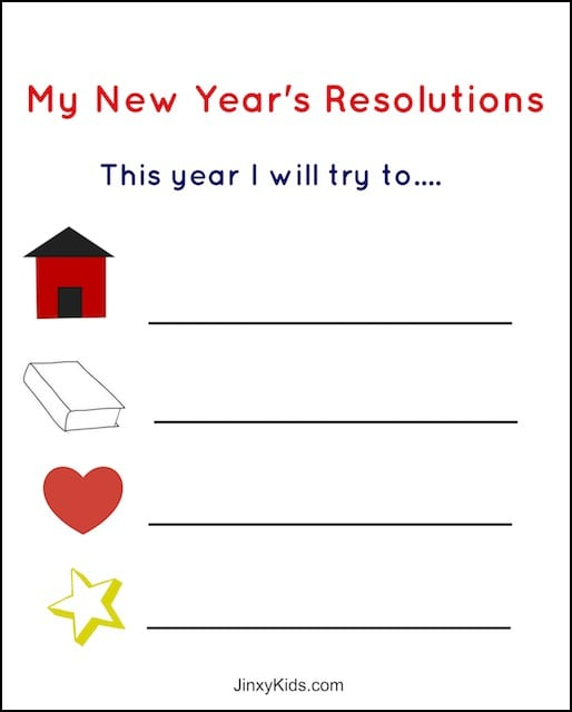 new years resolution worksheet - Printable Kids Activities