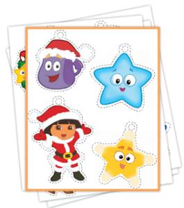 FREE Easy Printable Dora Christmas Ornaments