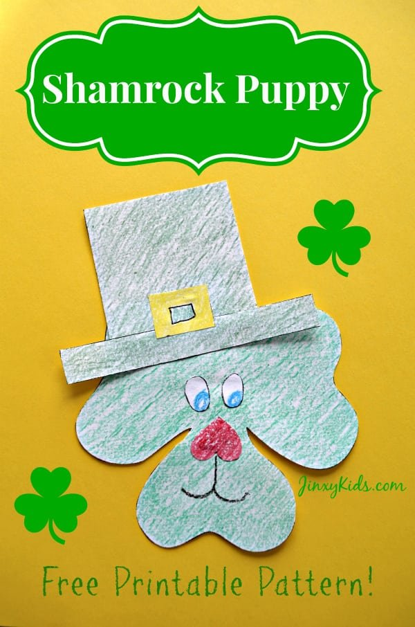 graphic relating to Printable Shamrock named Shamrock Canine St. Patricks Working day Craft Game - Jinxy Little ones