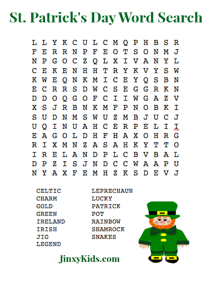 FREE Printable St Patricks Day Word Search Puzzle - Jinxy Kids