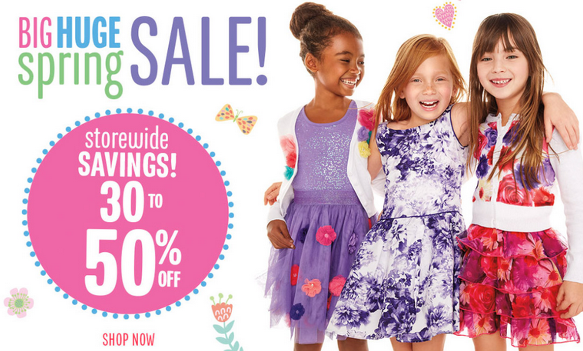 Save on quality clothes for every moment and every kid, from play-ready dresses and rompers for girls and toddler girls, to fun graphic tees and tops for boys, to naptime and anytime newborn essentials. Get girls and boys set for school with sale tops, tees and jackets. Prep toddler girls and boys for the park with sale shorts and hoodies.