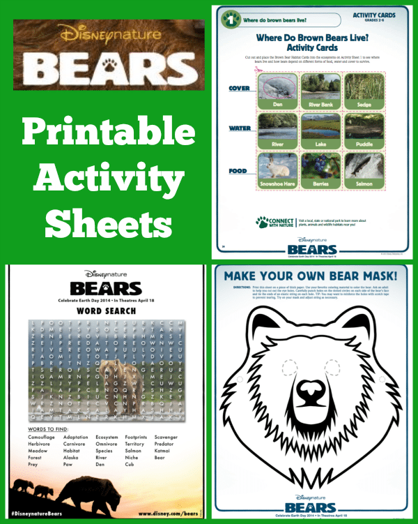 disneynature bears activity sheets