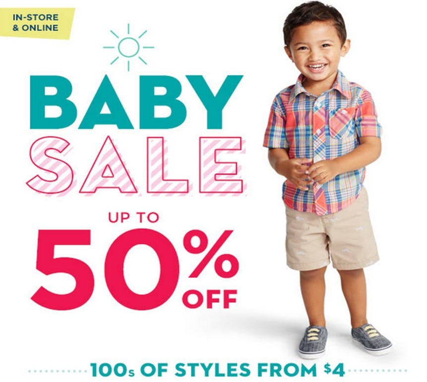 Moms love Carter's baby clothes sale. It's the best time to stock up on mix and match bodysuits, pants, side-snap tees, sleep and plays, gift sets and accessories. A baby clothes discount lets you get more of those cute little essentials that generations of moms trust.