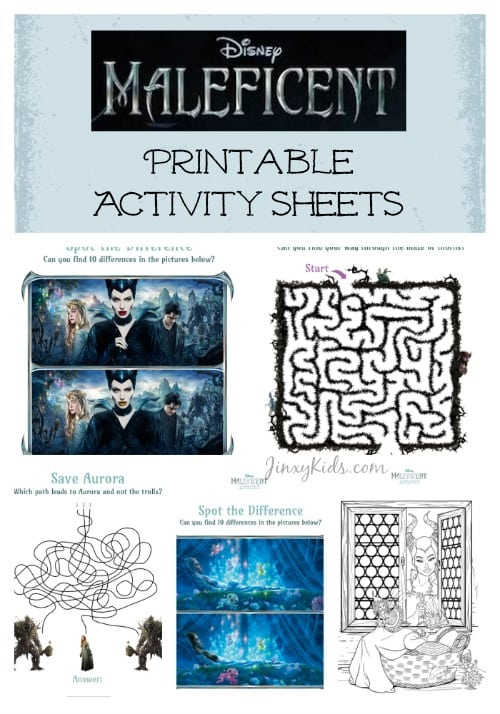 Maleficent Activity Sheets