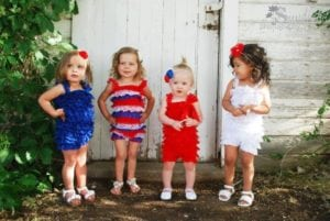 Adorable Red, White & Blue Rompers only $6.99!