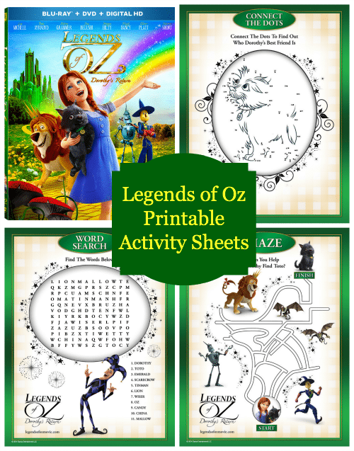 Legends of Oz Printable Activity Sheets