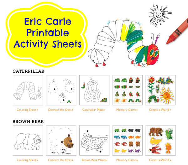 Printable Eric Carle Activity Sheets And New Sleeear From Gymboree Jinxy Kids: Eric Carle Worksheets At Alzheimers-prions.com