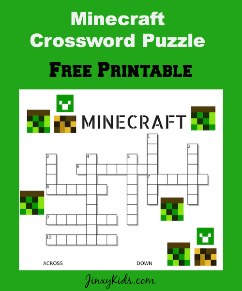photograph about Printable Minecraft called Absolutely free Printable Minecraft Crossword Puzzle - Jinxy Children