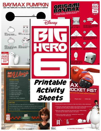Big Hero 6 Printable Activity Sheets