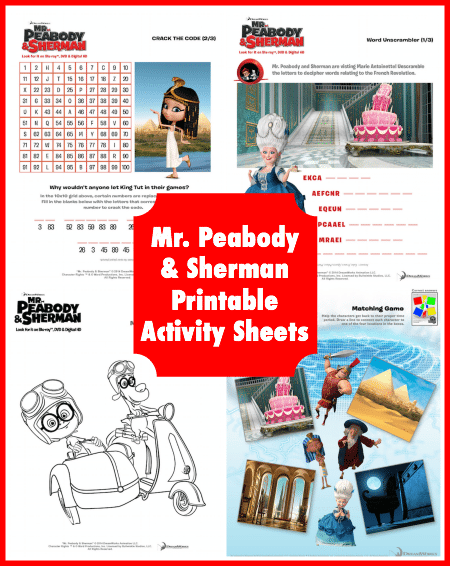 Mr Peabody and Sherman Printable Activity Sheets