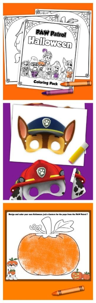 Printable PAW Patrol Halloween Coloring Pack and Activity Sheets