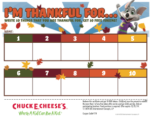 Chuck E. Cheese's Printable Thanksgiving Activity Sheet and Free Tokens