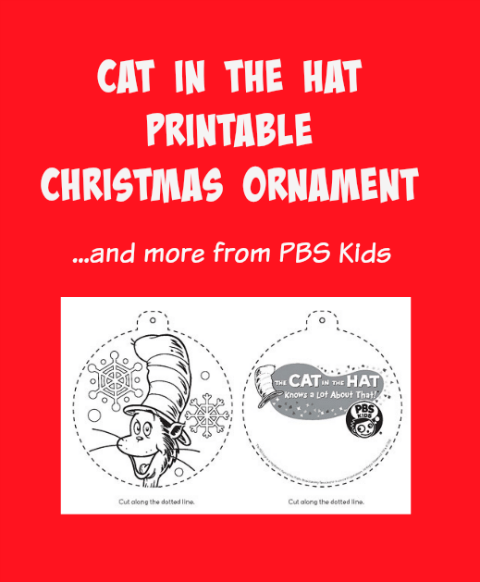 Cat in the Hat Printable Christmas Ornament