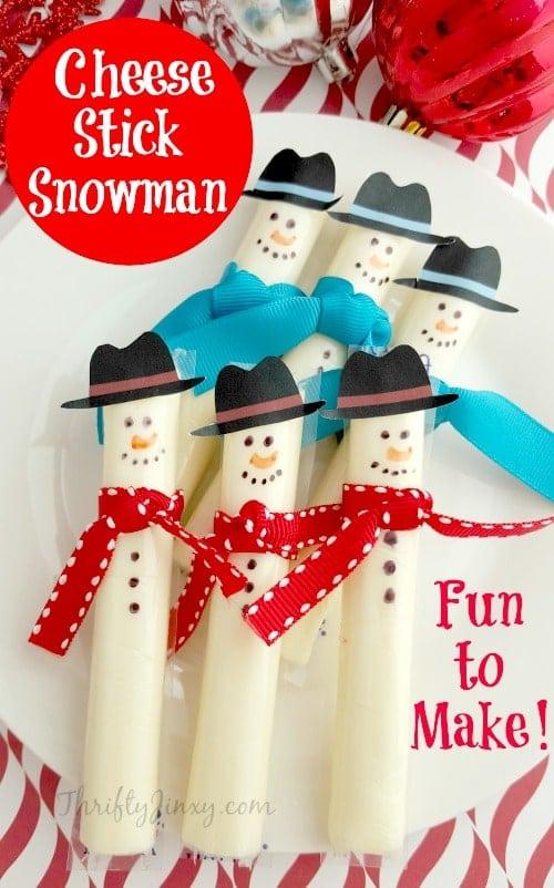 Cheese Stick Snowmen