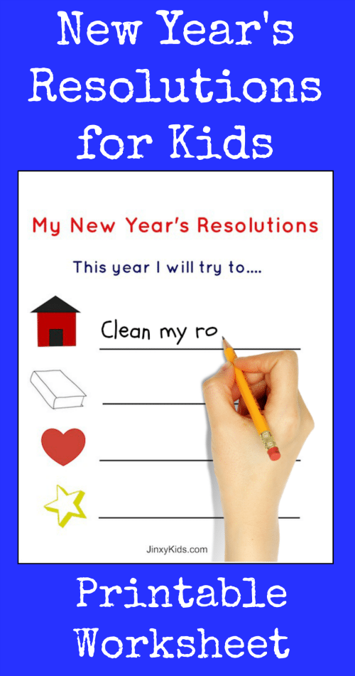 This FREE Printable New Year's Resolutions Activity Sheet for Kids is a fun New Year's Eve activity and helps kids learn about goal setting and planning.
