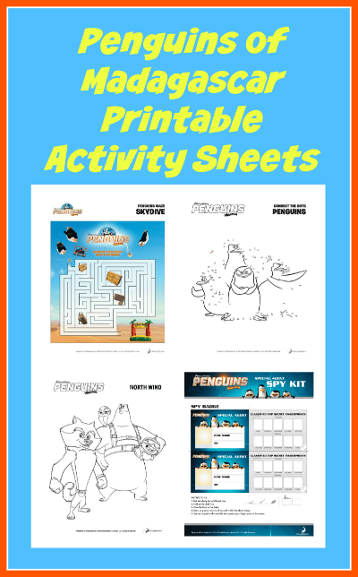 Penguins of Madagascar Printable Activity Sheets