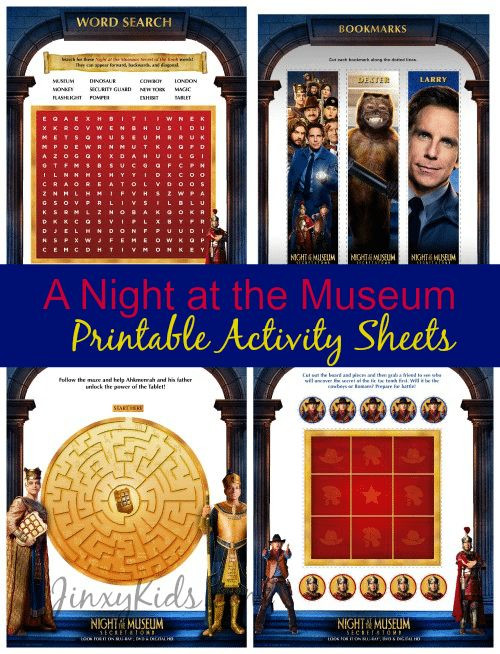 A Night at the Museum Printable Activity Sheets