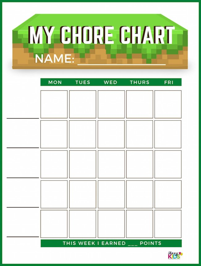 MINECRAFT CHORE CHART