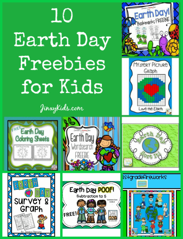 This list of 10 Earth Day Freebies for Kids includes free printable writing activities, coloring pages, math worksheets and more!