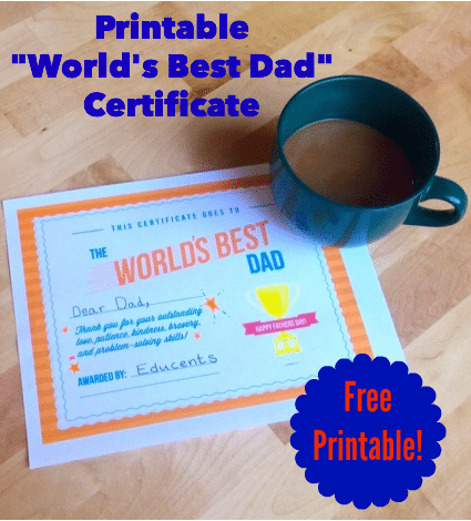 FREE Printable World's Best Dad Certificate
