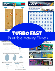 Turbo Fast Printable Activity Sheets + Reader Giveaway