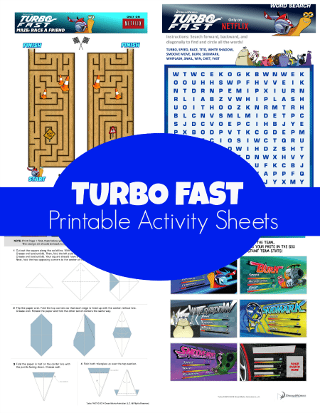 Turbo Fast Printable Activity Sheets
