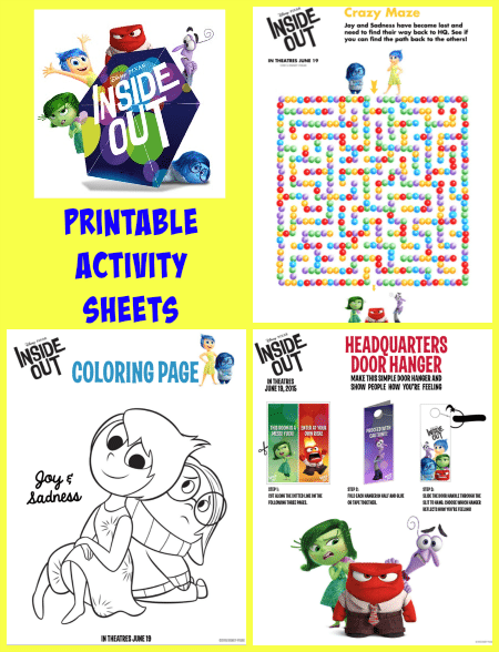 Inside Out Feelings Coloring Pages