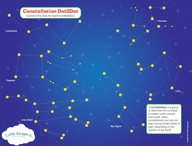 Free printable constellation activity sheet jinxy kids disclosure affiliate page 14 constellation left publicscrutiny Image collections