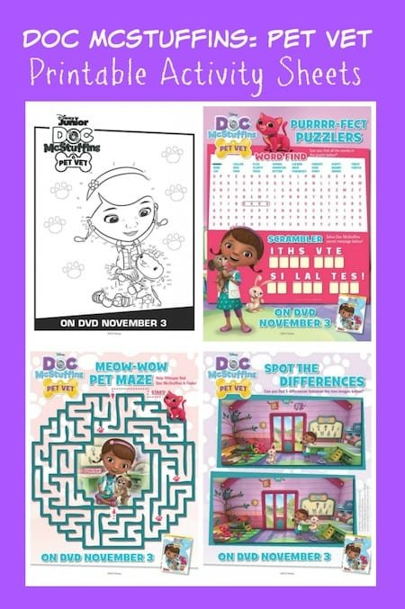 Doc McStuffins Pet Vet Printable Activity Sheets