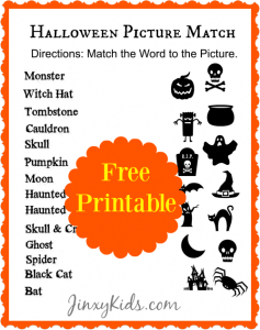 Halloween Picture Match Printable – Halloween Word Fun!