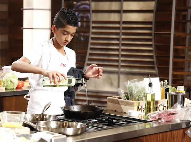 "MASTERCHEF: Contestant Zac in the all-new ""Junior Edition: New Kids on the Chopping Block"" Season Four premiere episode of MASTERCHEF airing Friday, Nov. 6 (8:00-9:00 PM ET/PT) on FOX. Cr. Greg Gayne / FOX. © 2015 Fox Broadcasting Co."