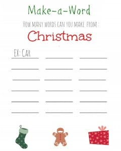 Christmas Make a Word Puzzle Printable