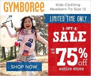 Gymboree I SPY A SALE Event with 75% Off Prices!