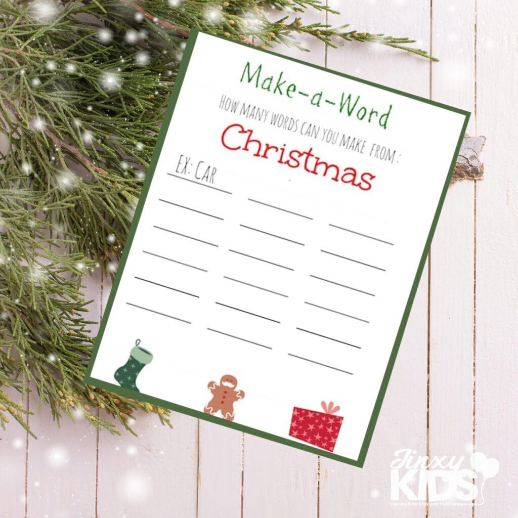 make a word christmas puzzle printable