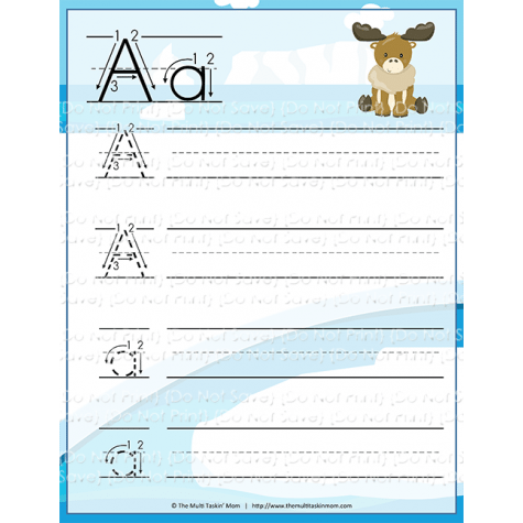 printable arctic animals handwriting practice worksheets jinxy kids. Black Bedroom Furniture Sets. Home Design Ideas