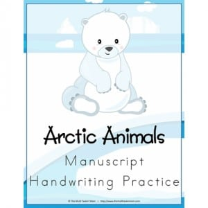 Printable Arctic Animals Handwriting Practice Worksheets