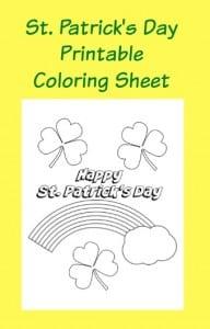 St. Patrick's Day Printable Coloring Sheet