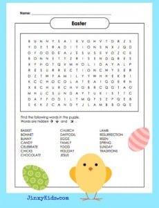 Printable Easter Word Search Puzzle